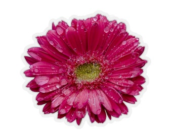 Hot Pink Gerbera Daisy Flower Rain Drops Kiss-Cut Stickers