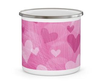 Pink Hearts Enamel Camping Mug