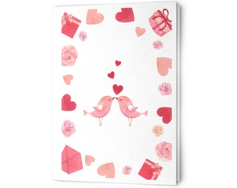 Valentine's Day Cards Pink Kissing Birds Hearts Roses Gifts