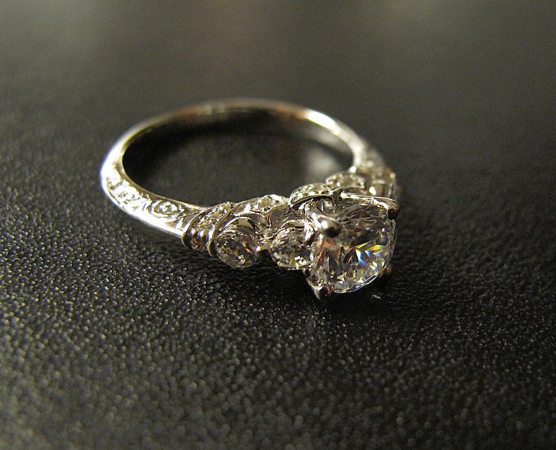 1ct Centre Vintage-Inspired Engagement Ring Made to Order image 0