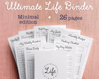 Planner, Ultimate Life Binder, Printable Planner, Budget, Habit Tracker, Finances, Project Planner, Daily Docket, A4, A5, US Letter