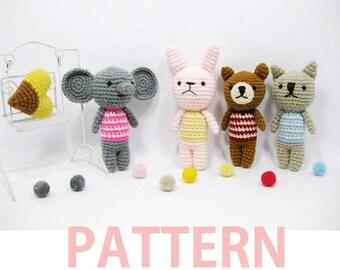 Amigurumi Crochet Pattern-Elephant,Rabbit,Bear,Cat