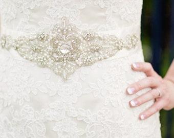 Diamante and Pearl Bridal Belt Sash