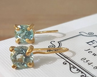 Blue Topaz earrings, December birthstone earrings, Topaz earrings, light blue earrings, antique earrings,  gemstone earrings, solitaire