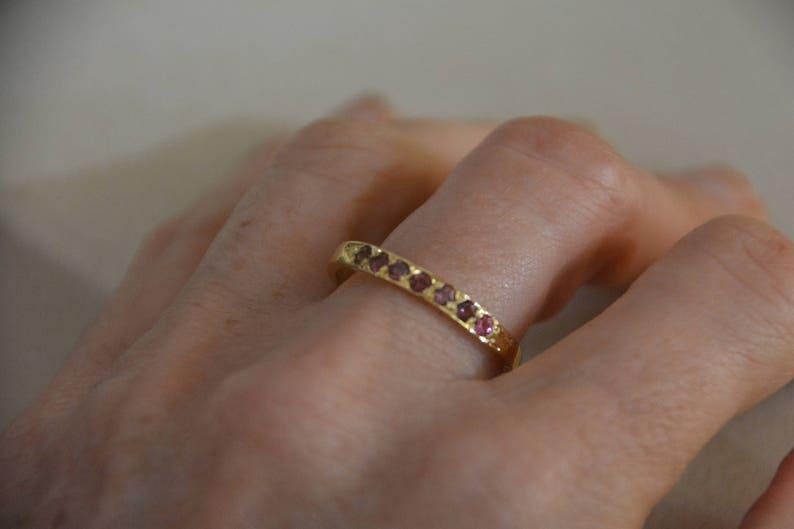 gemstone ring October birthday jewelry half eternity ring Tourmaline ring October birthstone ring stacking rings pink tourmaline ring