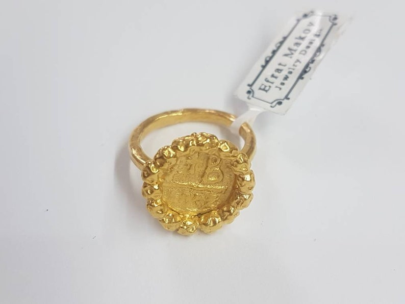 5915148282fe3 Gold coin ring, antique coin ring, old coin ring, antique ring, ancient  coin ring, gold ring, ring size 4, coin ring, size 13 ring