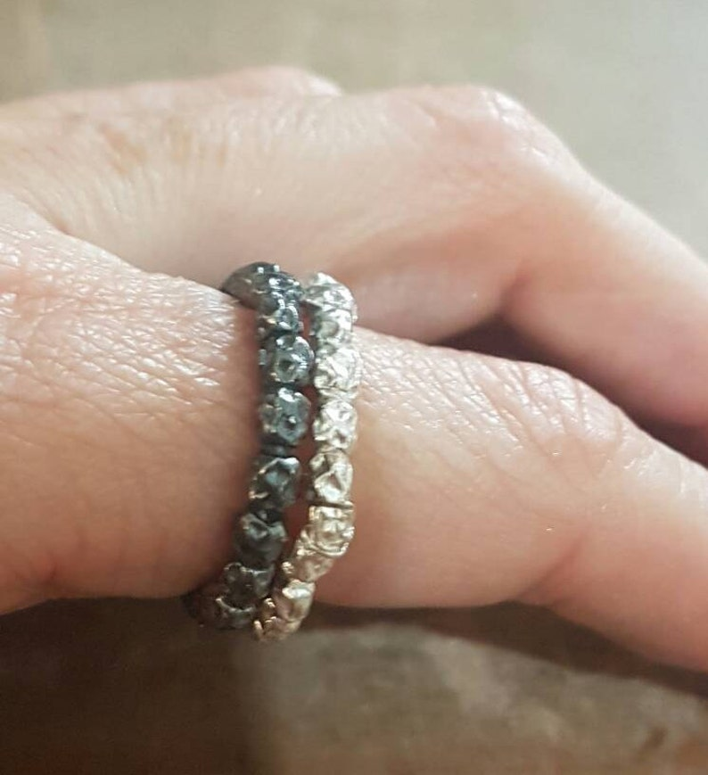 silver ring set Wedding band women simple ring band silver wedding ring stackable rings for women textured beads ring set