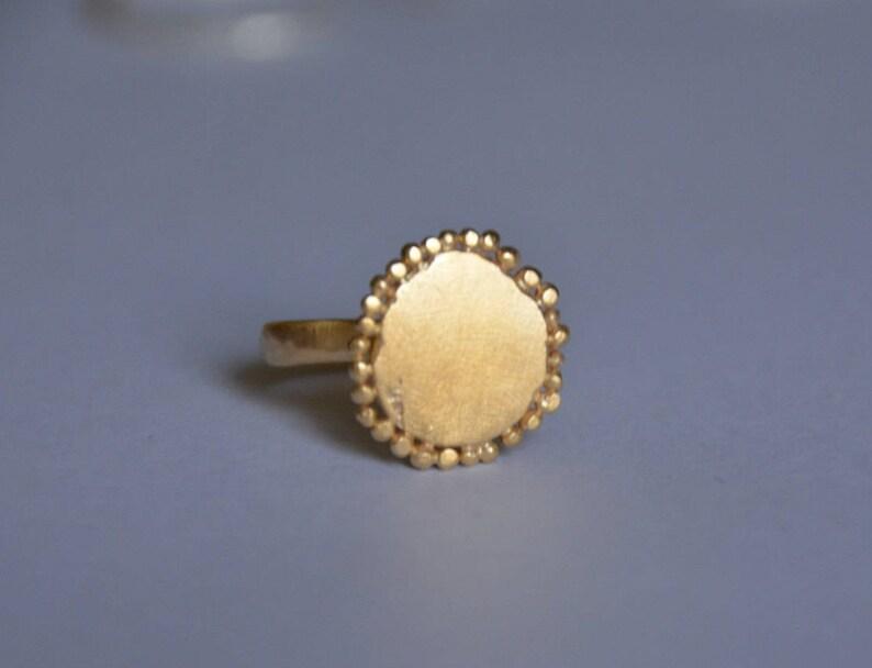 organic design ring gold round ring gold cocktail ring gold statement ring matte gold ring round disc ring Gold disc ring disc ring