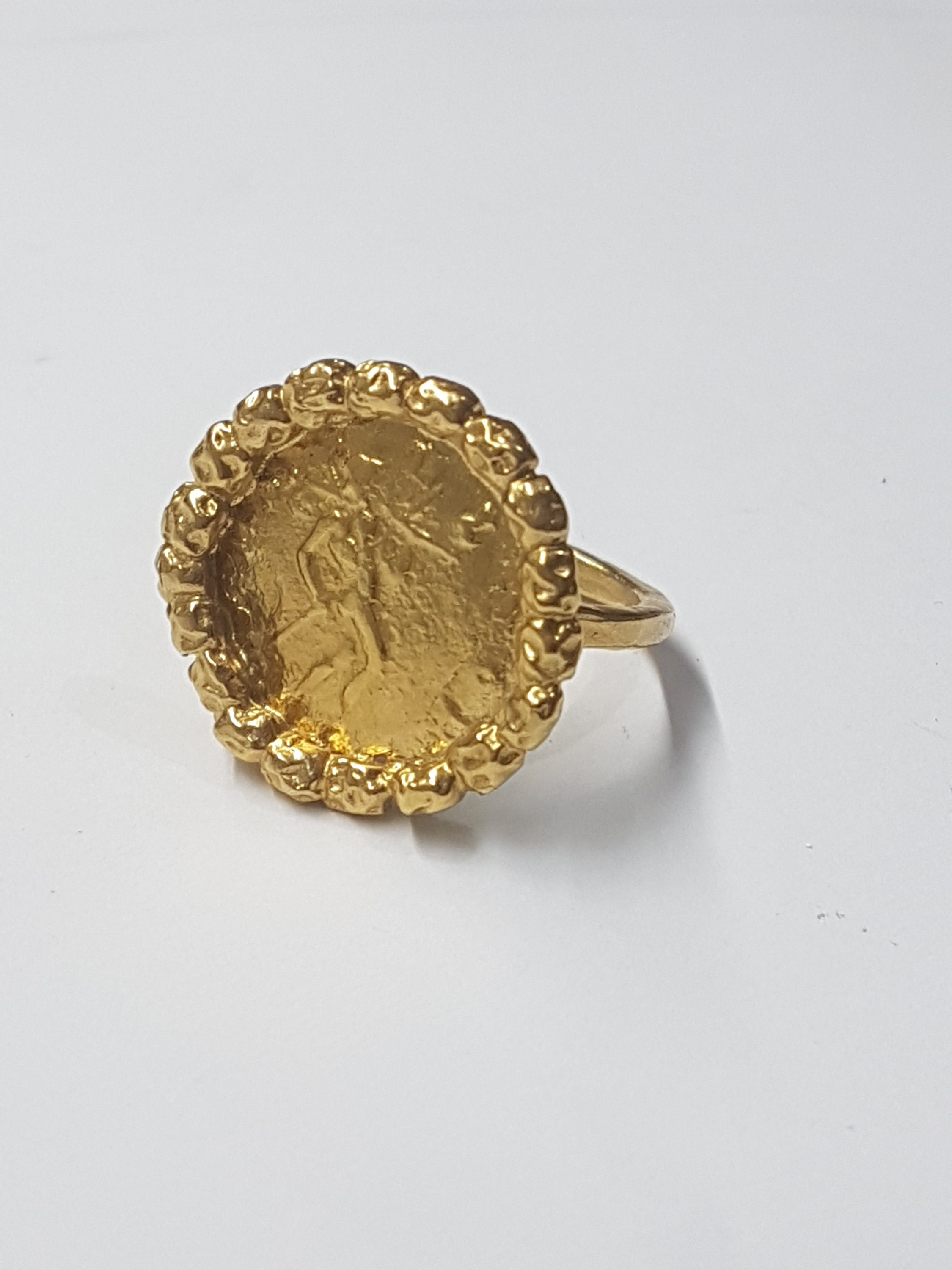 6a46d4c6f7cb8 Antique coin ring, gold coin ring, cocktail ring vintage, antique ring,  thin ring band, statement gold ring, gold ring size 5 coin ring gift