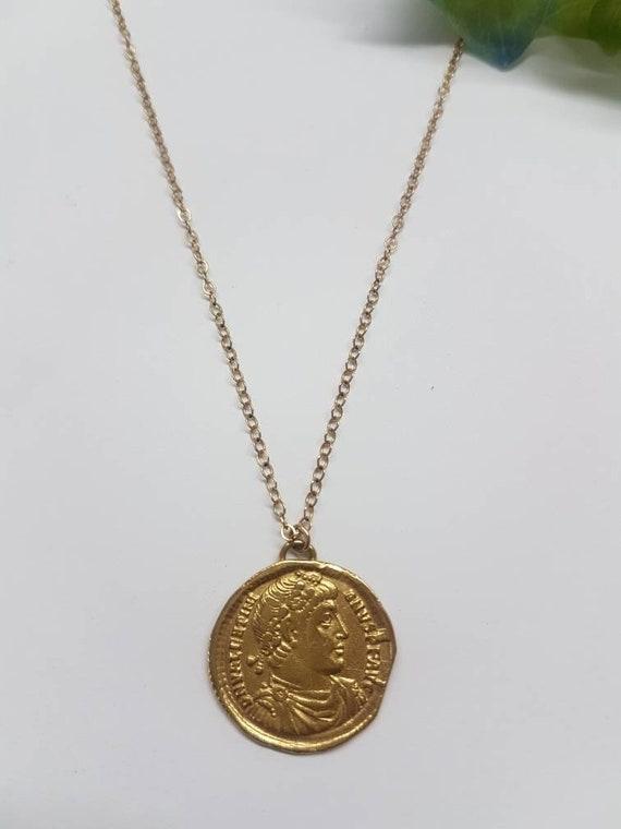 Münze Halskette Gold Halskette Gold Münze Anhänger Gold Etsy