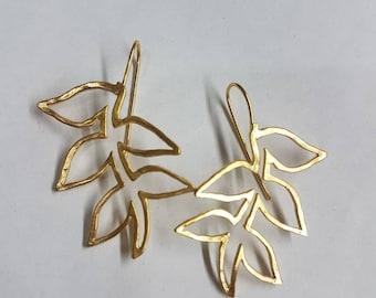 Leaf branch earrings, gold leaf earrings, long leaf earrings, drop leaf earrings, gold branch earrings, woodland earrings lightweight leaf