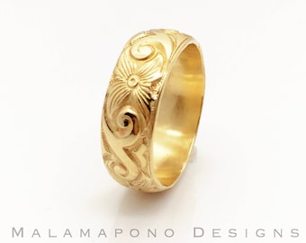 6 mm 14k gold filled Hawaiian Heirloom Jewelry style patterned wire ring