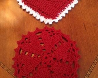 Heart Doilies Set of 2-Crocheted
