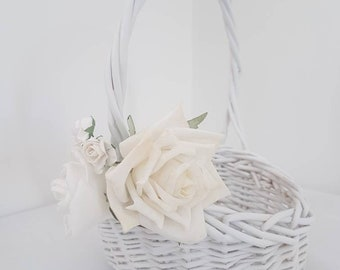 Flower Basket White Etsy