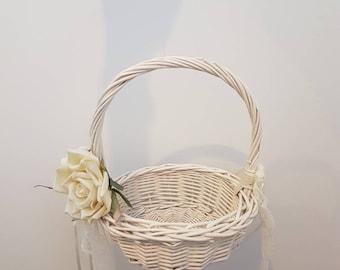 Ivory Wicker Flower Basket with Rose Bouquet