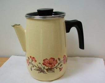 Vintage Frech Enamel Coffee Pot with lid, retro flowers #29