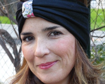 HEADBAND wide headband, black mesh turban and Japanese fabric. Ideal to replace a beanie this winter! Knitting earmuffs