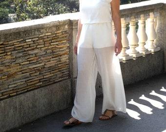 Pantalon fluide en voile de lin, laine et viscose. Blanc écru pour les jours d été ou pour une cérémonie de mariage