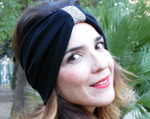 Wide headband, woman turban, in cotton and wool mesh, Japanese chirimen fabric. Ideal for replacing a cap in winter. Headband, Ear warmer
