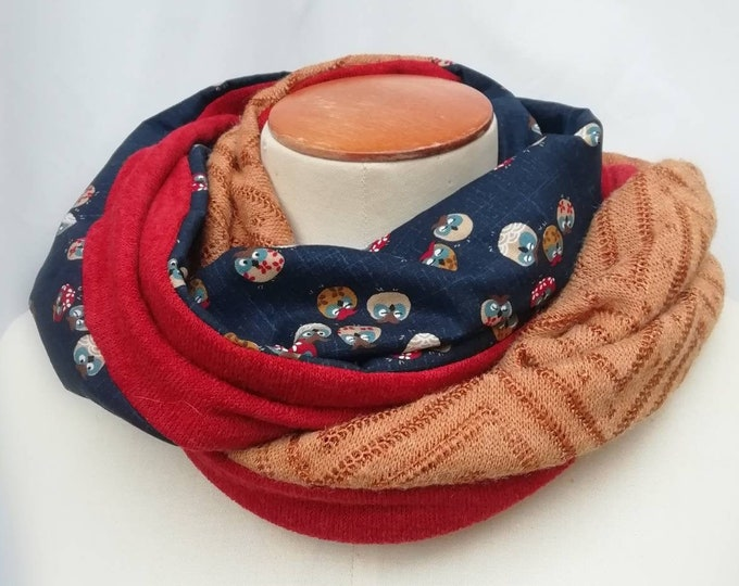 SNOOD women's wool scarf knit orange rust and Japanese fabric