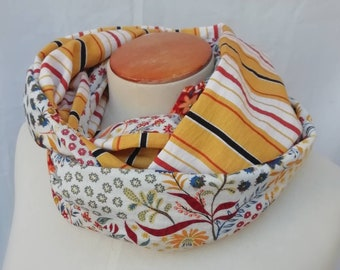 Yellow woman scarf with stripes and flowers. SNOOD neck circumfing, tube scarf