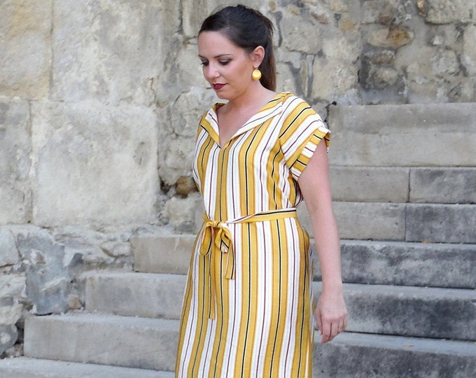 Short striped shirt dress for summer cotton and mustard yellow viscose