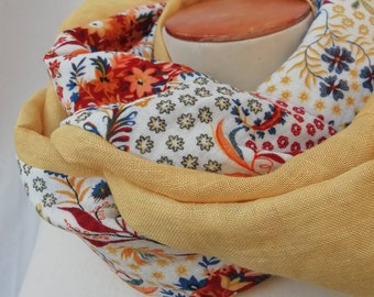 SNOOD women scarf in linen and cotton printed flowers