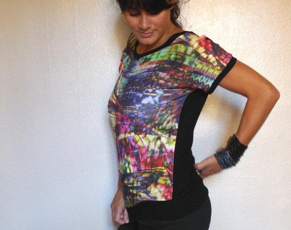 Pull tee-shirt manches courtes, en maille colorée, idéal demi-saison