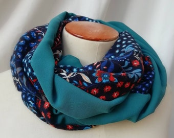 SNOOD women's scarf spring blue printed floral