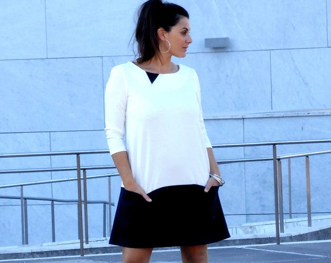 Short winter dress with sleeves, milano knit. blue/white or grey/black or pink