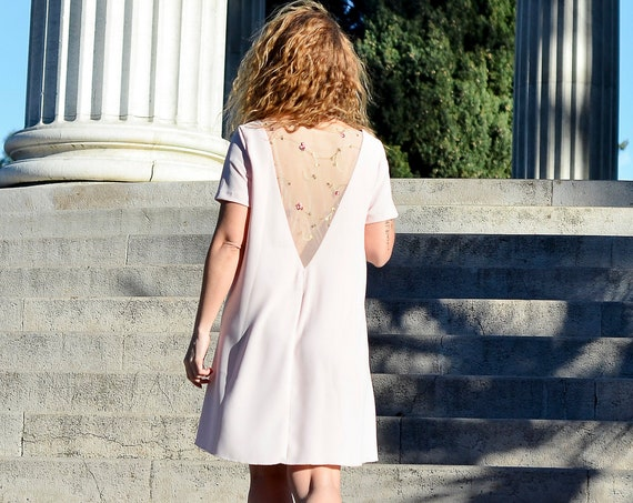 Short summer dress, nude dress,embroidered back. Short bridesmaid dress. Pastel pink dresses , blush bridesmaid dress, nude pink color