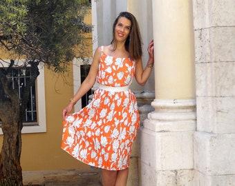 Summer dress pleated orange sun floral patterns