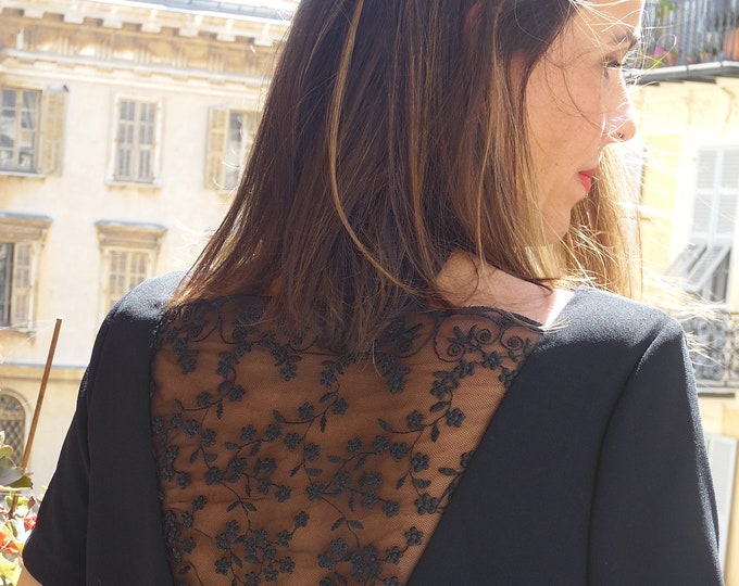 Black backless dress for woman