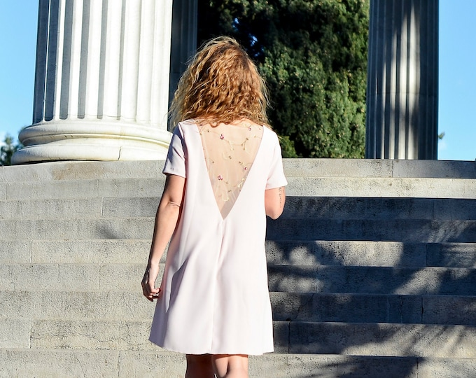 A-line dress blush color, embroidered back. Short bridesmaid dress or cocktail. Pastel dress
