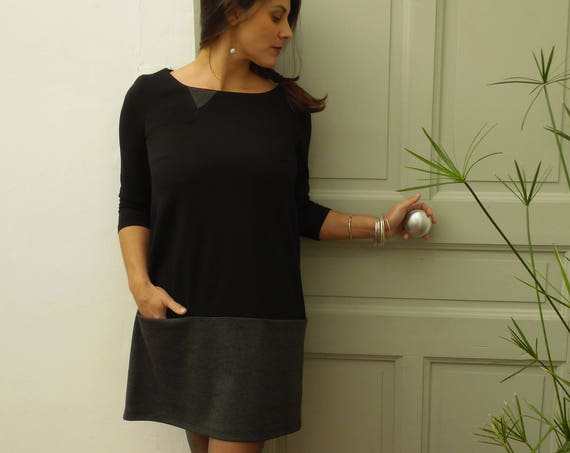 Short winter woman, black and gray dress, dress with pockets, trapeze, 3/4 sleeves, milano knit. Other colors: white/blue pink/gray