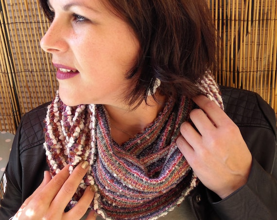 Woman multicolored scarf, wool knitted snood, collar. Woman gift idea. Autumn colors. Fall snood