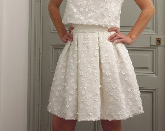 Lace for bride or for a summer outfit original skirt. Pleated Womens skirt