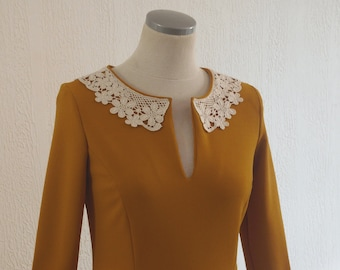 Vintage vintage retro style dress in camel mustard color