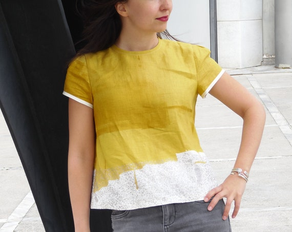Women's blouse in Japanese linen : yellow and silver