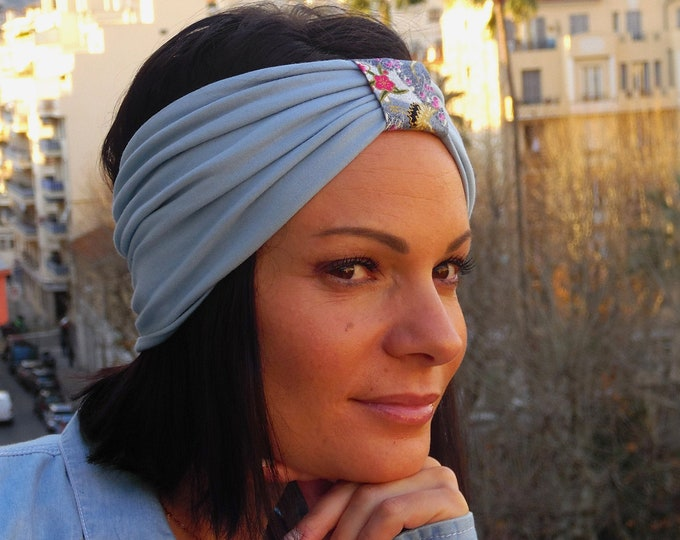 Women's turban headband in cotton jersey and Japanese fabric.