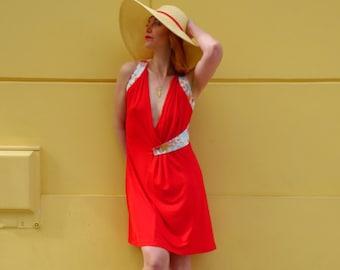 Robe rouge d'été cache-coeur en maille coton viscose et tissu japonais fleurs Sakura |robe rouge|robe été|robe portefeuille|robe cache coeur