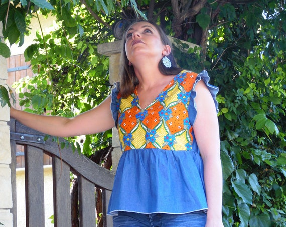 Summer top in jeans and retro Japanese fabric for women
