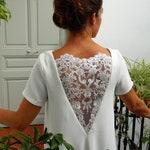 Short white dress, summer dress, embroideries, nacked back, flowery lace. Short wedding dress. bridal dress. courthouse's wedding