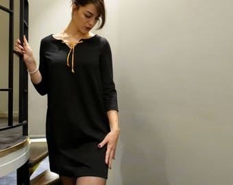 Straight black dress, winter dress, black Milano knit, fancy Japanese cord, 3/4 sleeves, short winter dress, couture made in France