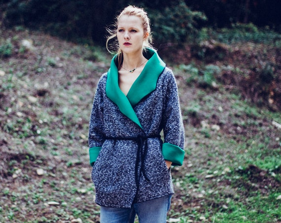 Woman green coat , black and white wool tweed, Oversized women coats, Winter jacket. Green collar. Made in France clothes. overcoat, topcoat