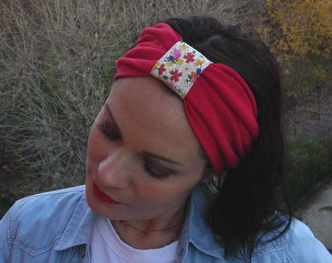 Red turban headband for women in cotton jersey and Japanese fabric.