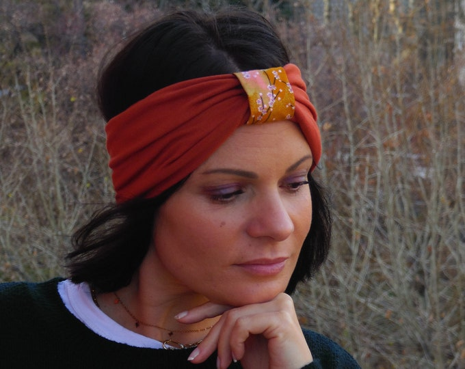 Headband for women's bandeau in viscose jersey and Japanese fabric.