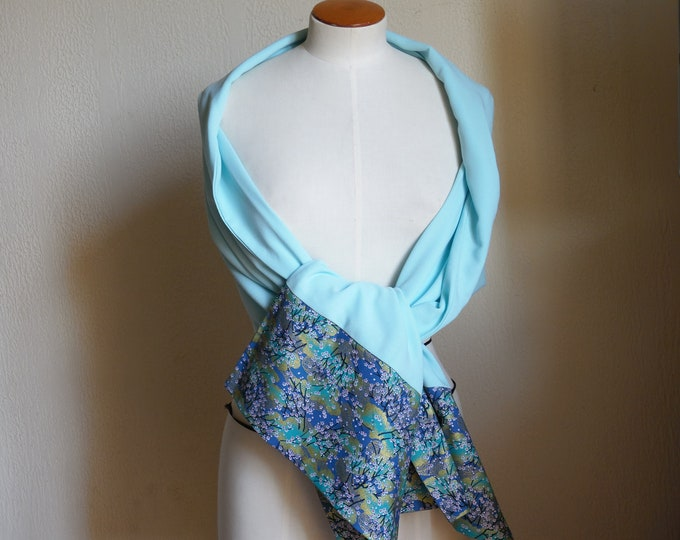 woman shawl, Stole Japanese fabric and aquaverd fabric,