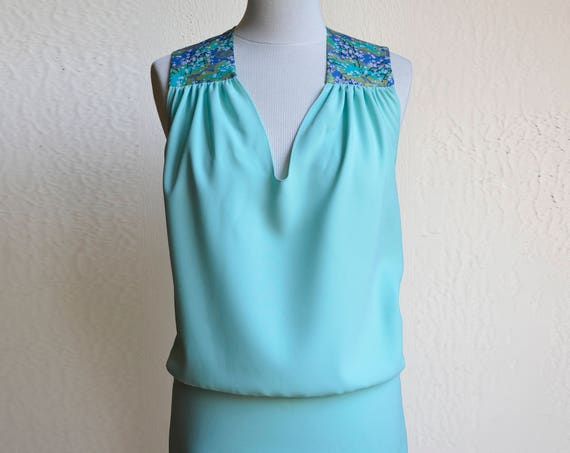Seafoam green dress, summer dress, turquoise, green, jade, aquamarine, with Japanese fabric. Short Cocktail Dress. Aqua Bridesmaid dress