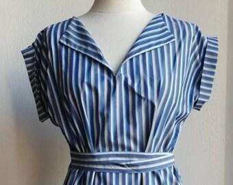 Blue cotton-style striped shirt-style summer dress